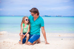 Young father and little daughter during tropical Stock Photo