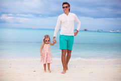 Young father and little daughter during tropical Royalty Free Stock Photo