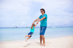 Young father and little daughter during tropical Royalty Free Stock Photography