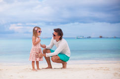 Young father and little daughter during tropical Royalty Free Stock Images