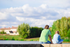 Young father and little girl enjoying beautiful views outdoors in Europe Royalty Free Stock Image
