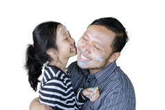 Young father looks happy with his daughter Royalty Free Stock Images