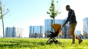 Young father rolls a child in the baby pram in the park. Man walking with baby on nature at sunset, camera movement stock photos
