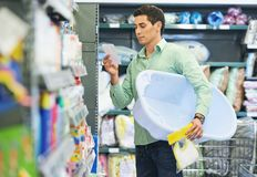 Young father shopping Royalty Free Stock Photo