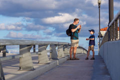 Young father and son on Fort Lauderdale Bridge Royalty Free Stock Images