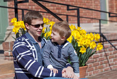 Young father and son in a park Royalty Free Stock Photo