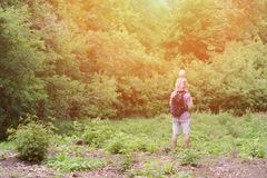 Young father with son on shoulders standing against a background of green forest. Back view. Sunlight.  Royalty Free Stock Image