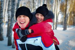 Young Father And Son In Winter Landscape. Young Father And Son On Winter Vacation Stock Photos