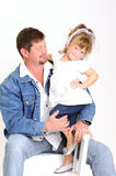 Young father and toddler girl dressed in white Royalty Free Stock Photography