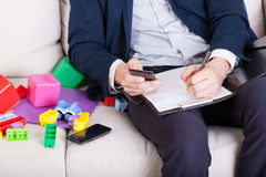 Young father working at home Royalty Free Stock Photo