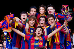 Young FC Barcelona supporters Royalty Free Stock Photo