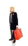 Young fellow with big bags Royalty Free Stock Images