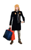 Young fellow with big bags Royalty Free Stock Image