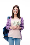 Young femael student holding money Royalty Free Stock Photography