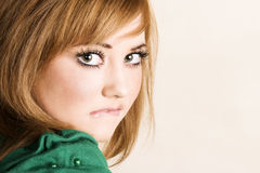 Young Female. Beautiful young model with striking green eyes stock photography
