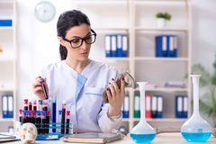 Young female archaeologist working in the lab. The young female archaeologist working in the lab royalty free stock photo