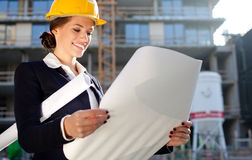 Young female architect/construction engineer Royalty Free Stock Photography