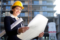Young female architect/construction engineer Stock Photography