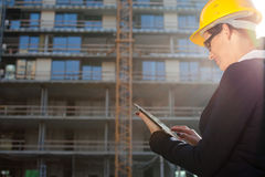 Young female architect/construction engineer Stock Images