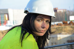Young female architect at the construction site of the construction project Royalty Free Stock Photo