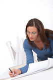 Young female architect at the office Royalty Free Stock Image