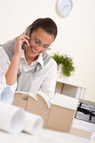 Young female architect with phone Stock Image