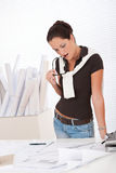 Young female architect with plans Stock Image
