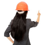 Young female architect is pointing Stock Photo