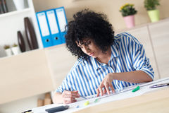 Young female architect working at home Stock Photography