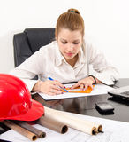Young female architect working on the project Royalty Free Stock Image