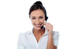 Young female as tech support executive Stock Images