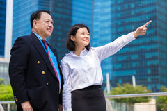 Young female Asian executive and senior Asian businessman looking at one direction Royalty Free Stock Photo