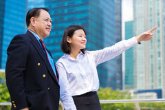Young female Asian executive and senior Asian businessman looking at one direction Royalty Free Stock Photos
