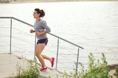 Young Female Athlete Doing Running as Training Stock Photo
