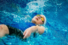 Young female athlete swimming backstroke Royalty Free Stock Photography