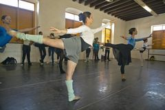 Young female ballerinas at Pro Danza Ballet dance studio and school, Cuba Stock Photo