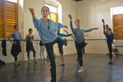 Young female ballerinas at Pro Danza Ballet dance studio and school, Cuba Stock Image