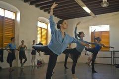 Young female ballerinas at Pro Danza Ballet dance studio and school, Cuba Stock Photos