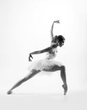 Young female ballet dancer on grey stock image