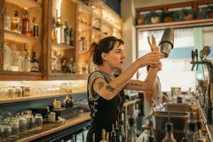 Young female bartender mixing cocktails behind a bar counter. Young female bartender standing behind the counter of a trendy bar using a shaker to make cocktails royalty free stock photography