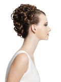 Young female with beautiful short curly hairstyle Royalty Free Stock Photos