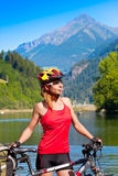 Young female biker Stock Photos