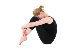 Young female in black tights sitting Stock Photos
