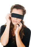 Young female with blindfold Royalty Free Stock Photos