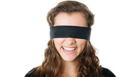 Young female with blindfold Stock Images