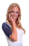 Young female blond. E using cell phone isolated on white background Stock Image