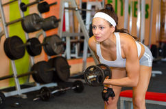 Young female bodyduilder lifting weights in the gym Royalty Free Stock Image