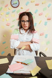 Young female bookkeeper nerves on a limit Royalty Free Stock Images