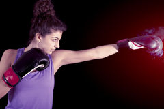 Young female boxer hits during a workout Stock Image