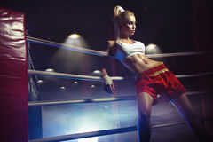 Young female boxer prepare to fight. Young female boxer prepare to first fight Royalty Free Stock Photos